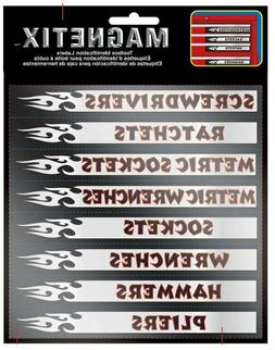 16 Pc Set Magnetic Tool Box Labels for Garage Mechanic Tools