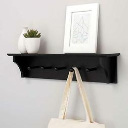 """24"""" Floating Wall Shelf Coat and Hat Rack with 5 Pegs Hook H"""