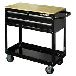 3-Drawer Rolling Utility Tool Cart Tray with Solid Wood Top