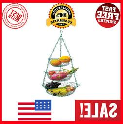 3 Tier Wire Hanging Kitchen Basket Fruit Vegetable Organizer
