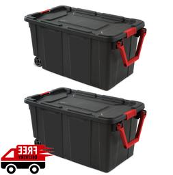 30 Gallon Wheeled Tote Rolling Storage Wheels Container Plas