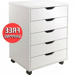 5 Multi Drawer Storage Cabinet White Finish Room Home Office