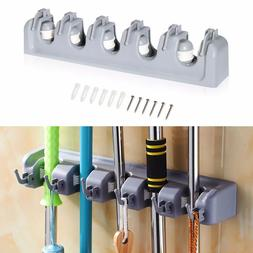 Broom Holder and Garden Tool Garage Organizer 5 Slots 6 Hook