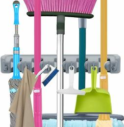 Broom Holder and Garden Tool Garage Organizer 5-Slots 6-Hook