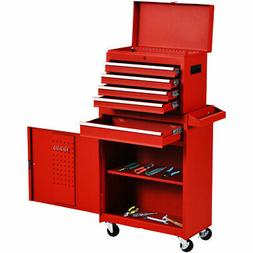 Functional Tool Chest & Cabinet with 5 Drawers Rolling Garag