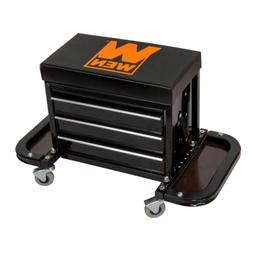 Garage Glider Rolling Tool Chest Seat with 3 Drawer Organize