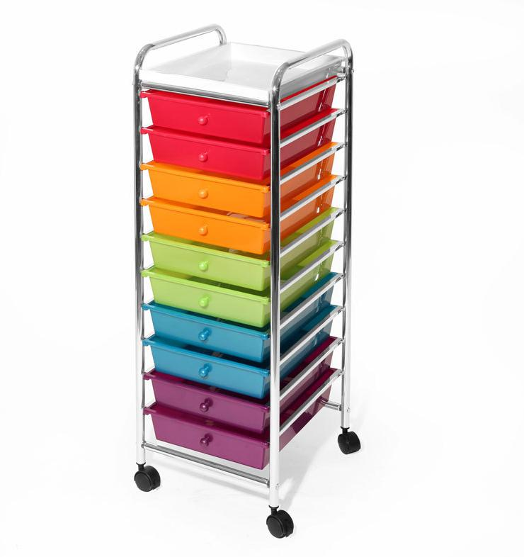 10 drawer organizer cart multicolor pearlized