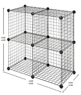 Whitmor Organize, Room, Home, Office, Black,Cubes, Wire