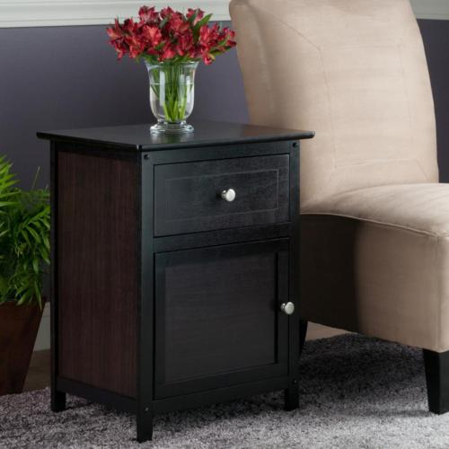 espresso finish accent table home bedroom side