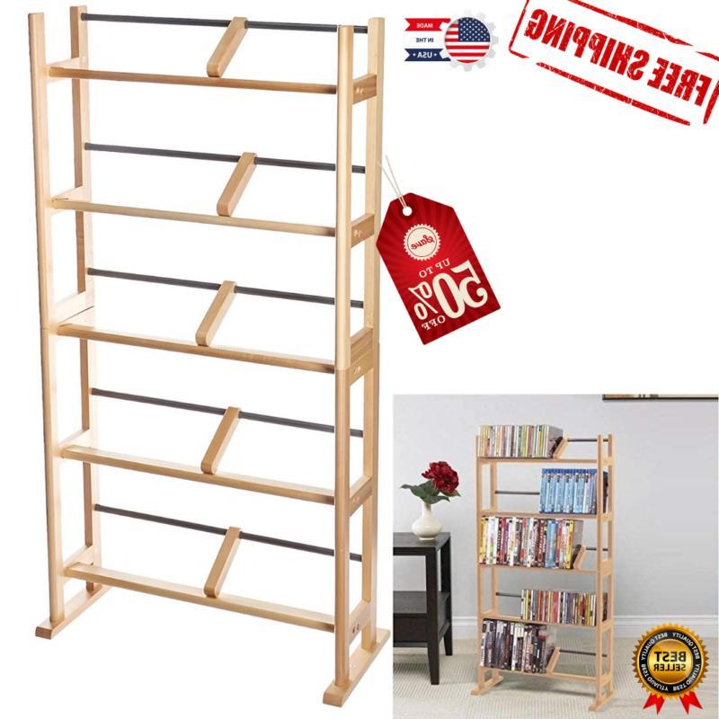 Media DVD CD Organizer Cabinet Tower Stand Display Wood