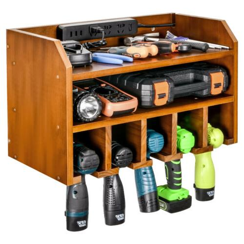 Power Tool Organizer Wood Charging Station Drill Holder Wall