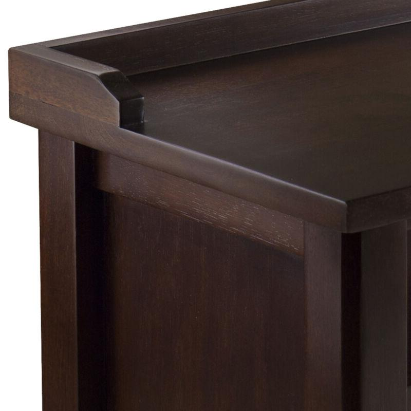 Shoe Bench Wood Entryway Brown