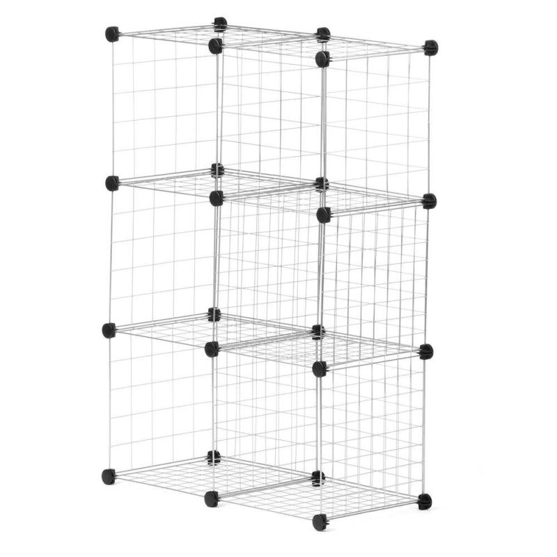 silver stackable 6 cube organizer for bedrooms
