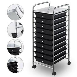 Rolling Storage Cart and Organizer w/ 10 Drawers Home/Office