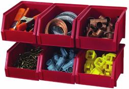 Stack-On Products Storage Bin Small Red 6 Pack BIN-503-PACK